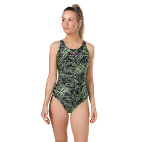 speedo Boom Allover Muscleback Traje de Baño Mujer, black/green